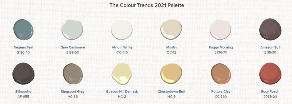 Benjamin Moore Colour Trends 2021 Palette
