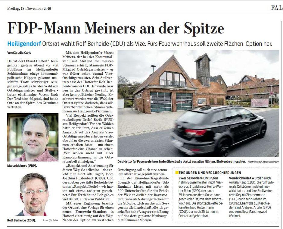 Wolfsburger Nachrichten, 18.11.2016