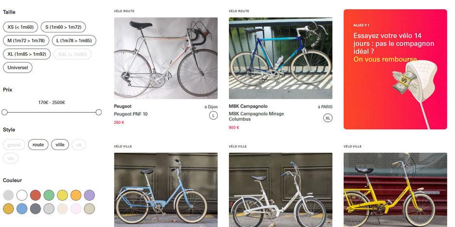 Capture d'écran Saikle vélo occasion