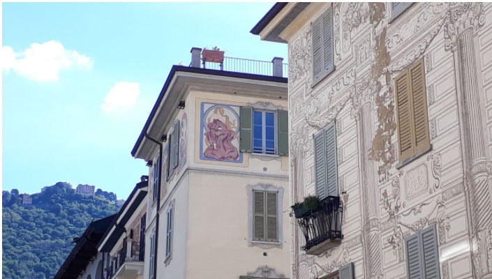 fresque des immeubles de come italie