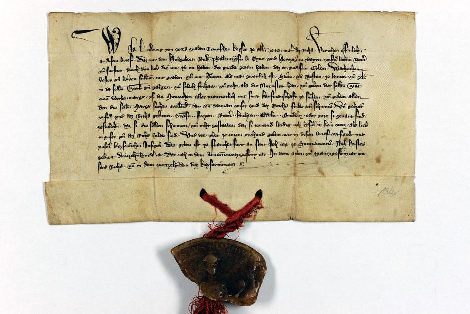 Urkunde zur Verleihung der Stadtrechte Wachenheim durch Kaiser Ludwig IV im Landesarchiv Speyer.