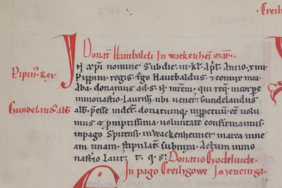 """Erwähnung Wachenheim im """"Lorscher Codex"""", Landesarchiv Speyer"""