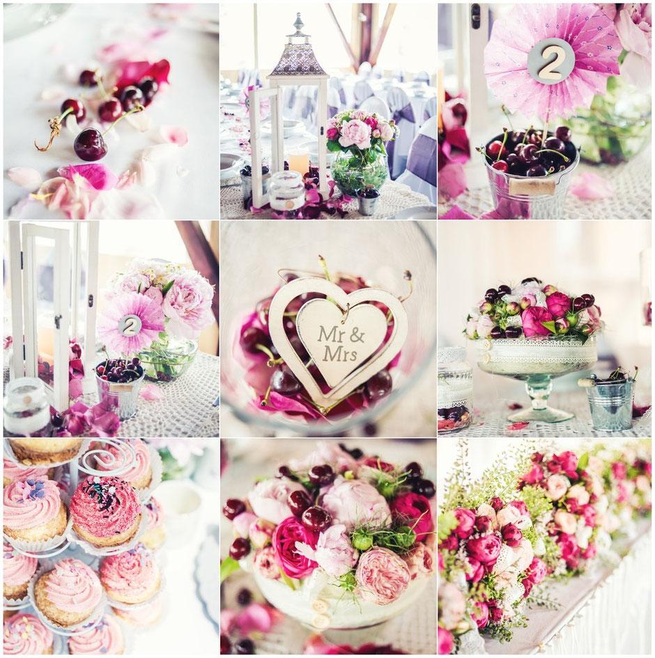 Dekoration Hochzeit pink
