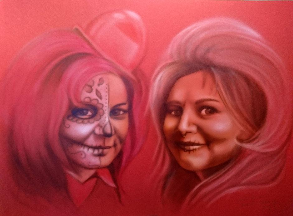 Airbrushportrait mit Friseurschwestern auf roten Karton; gemalt in Glaubitz