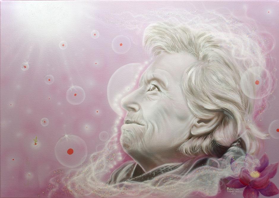 """""""Reise ins Licht"""" Portraitmalerei in Acryl und Airbrush als Andenken an eine geliebte Person; Auftragsmalerei in Janishausen von Butterfly-Art Melanie Nicklisch"""