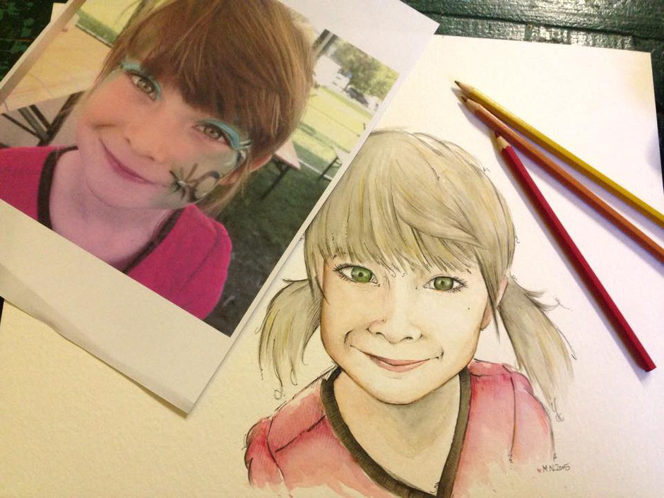 Portrait nach Fotovorlage mit Buntstift und Aquarell