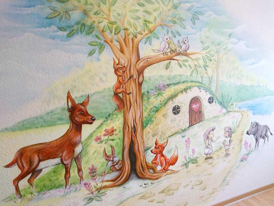 Wandmalerei im Kinderzimmer nach den Wünschen der Eltern und Kinder mit den Figuren von Kindertrickfilmen, Malerei in Glaubitz, von Butterfly-Art Melanie Nicklisch aus Nünchritz Nünchritz