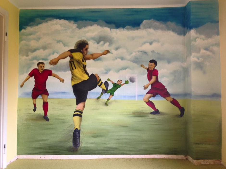 ein gemaltes Wandbild mit deinen Persönlichen Fußballstars, Malerei bei Gröditz, von Butterfly-Art Melanie Nicklisch aus Nünchritz