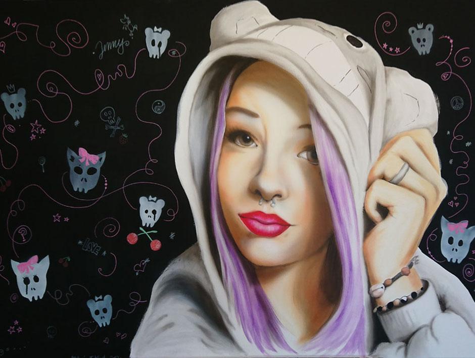 gemaltes Portrait als Kundenauftrag von Butterfly-Art Melanie Nicklisch