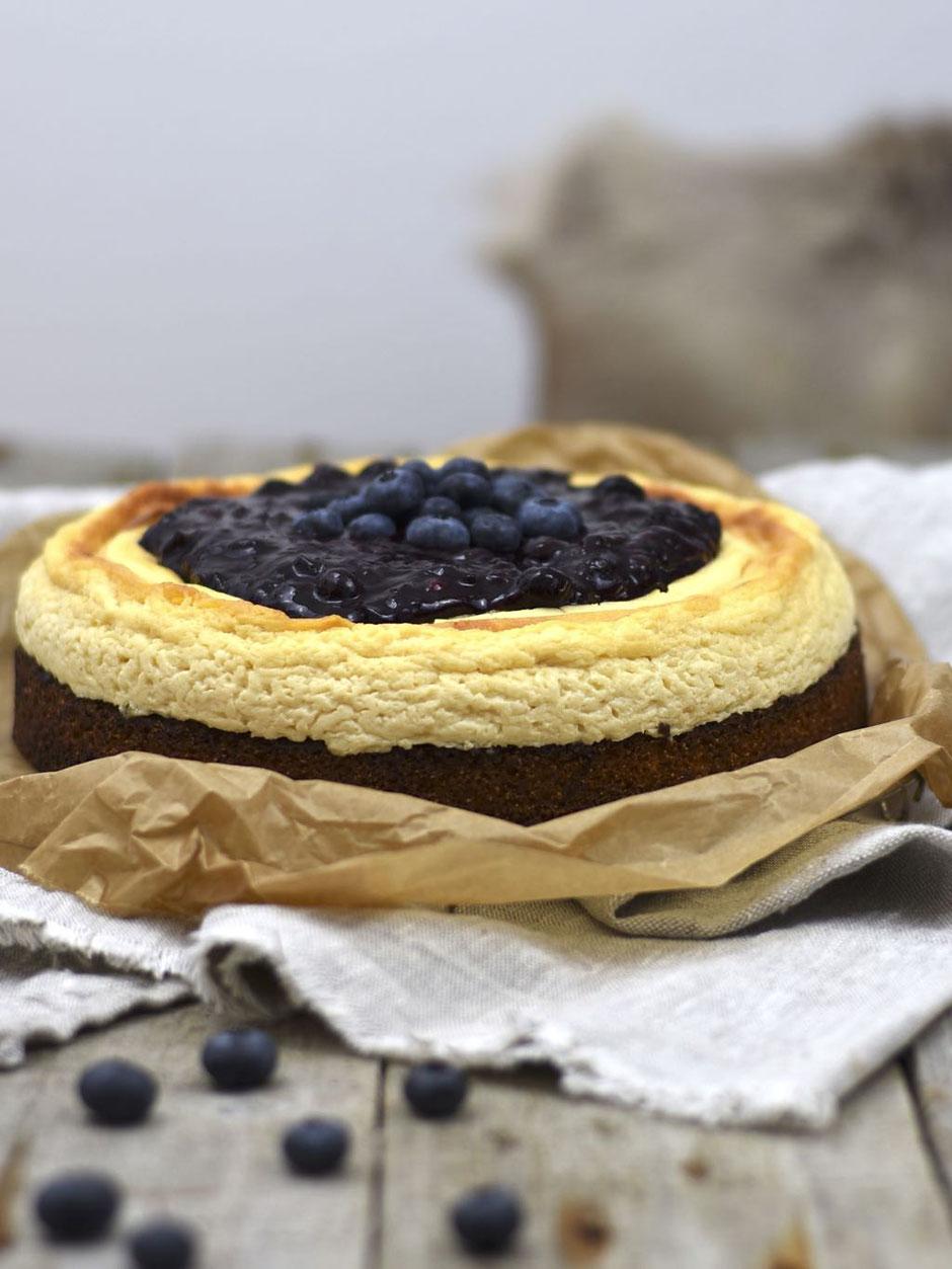 Polenta Heidelbeer Cheesecake