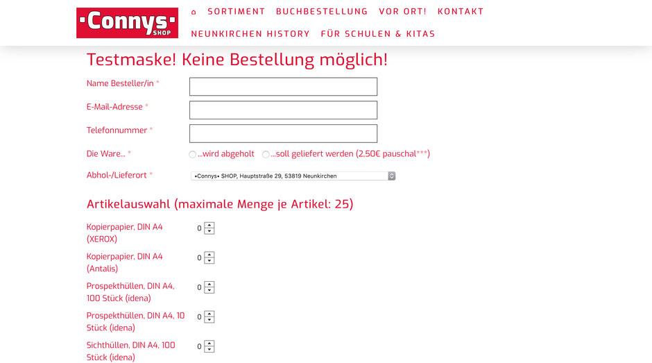 Individuelle Bestellmaske für Bestellungen direkt über unsere Homepage