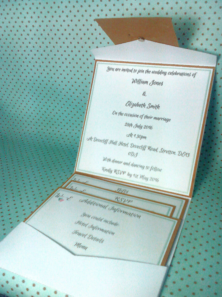 Example of a Pocket Fold style invite with all the cards in place