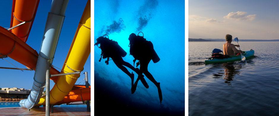 Wasserrutsche, Waterslide, Tauchen, Diving, Kajakfahren, Kayaking, Oehlmann-Photography, Dr. Ralph Oehlmann