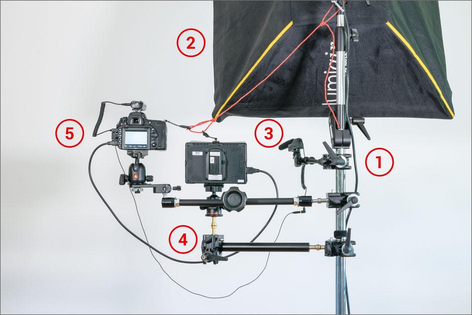 Video-Recording-Stand, Aufbau, Ansicht hinten, Dr. Ralph Oehlmann, Oehlmann-Photography