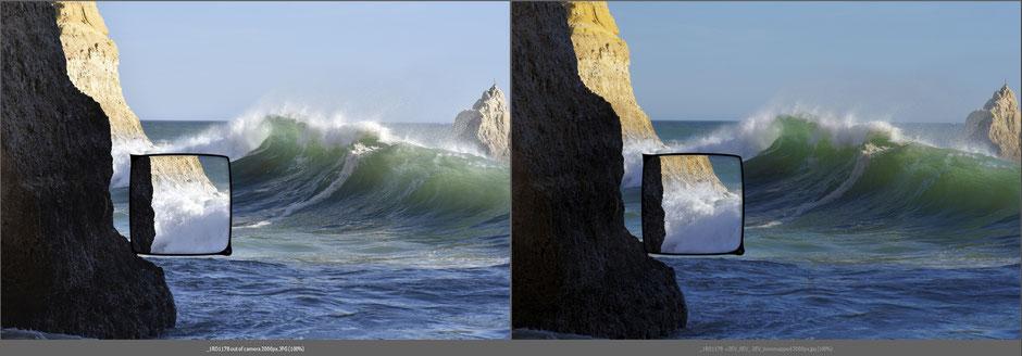 Vergleich:  JPG out of camera (links) mit JPG nach tonemapping ohne zusätzliche Bearbeitung (rechts), Dr. Ralph Oehlmann, Oehlmann-Photography