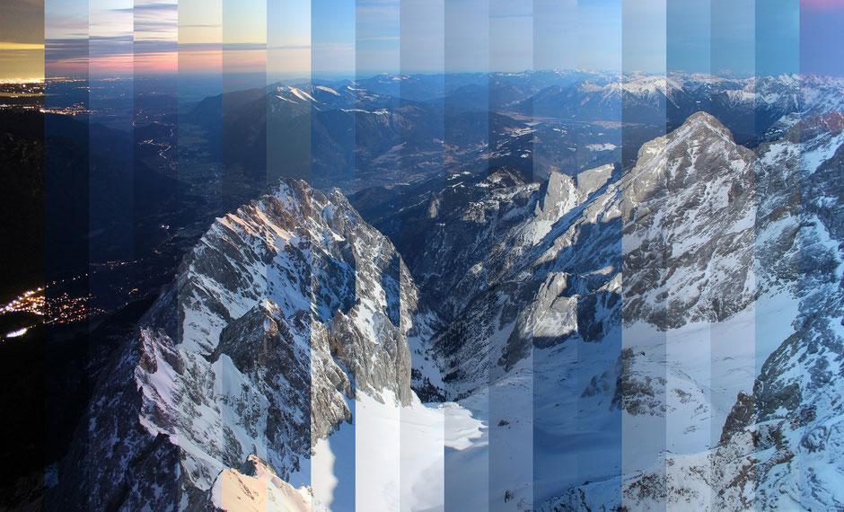 TimeSlice, foto-webcam.eu, Blick von der Zugspitze Richtung Osten, Streifeneindruck durch linksseitigen Gradienten verstärkt, Dr. Ralph Oehlmann, Oehlmann-Photography