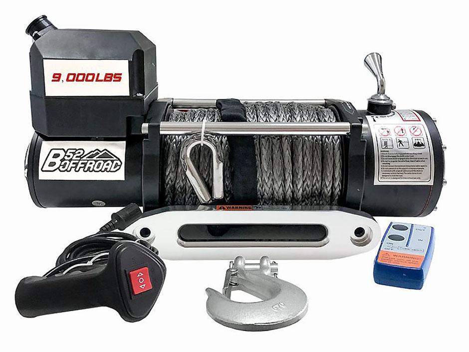 -B52 9000 12V con cavo sintetico tessile Dyneema SK75 da cavo 25metri x 10mm e bocca in alluminio
