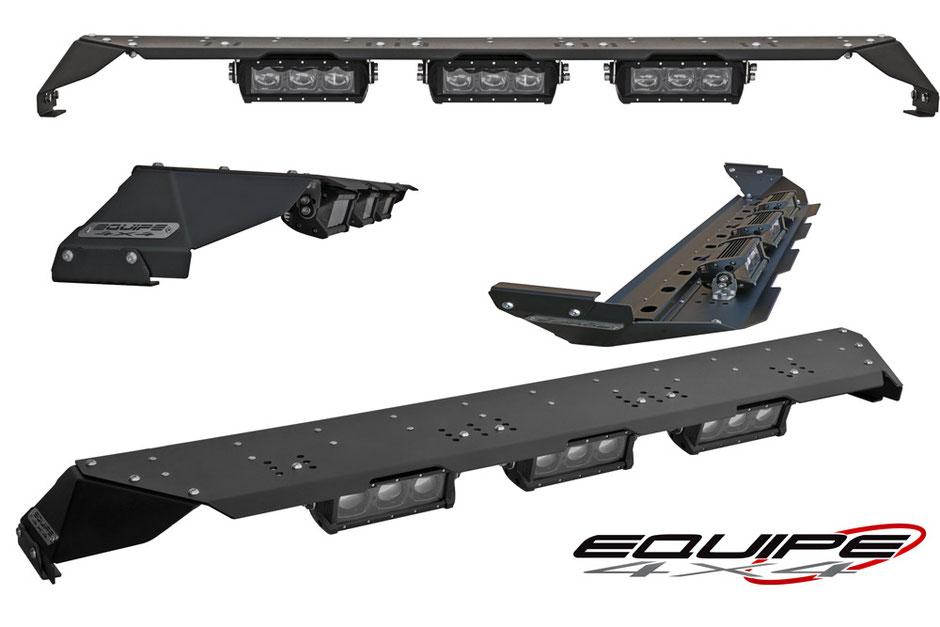 equipe 4x4 barra tetto portafari defender