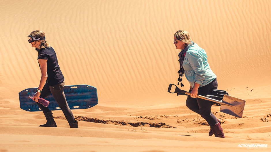 Emily Miller and Lilly Macaruso in the dunes of Morocco