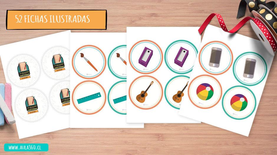 fichas ilustradas de juego didáctico de los artículos gratis aula360