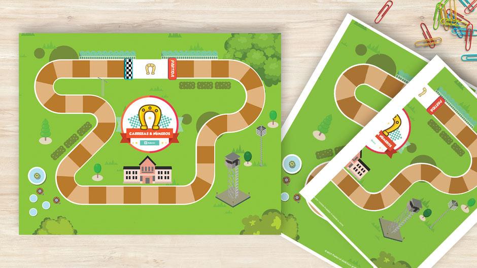 "Tablero de juego ""carrera & números"" para profesores aula360 gratis"