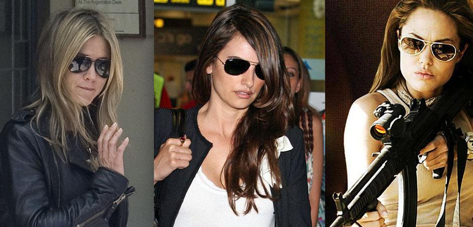 Imagen de actrices usando lentes aviator de Ray-Ban
