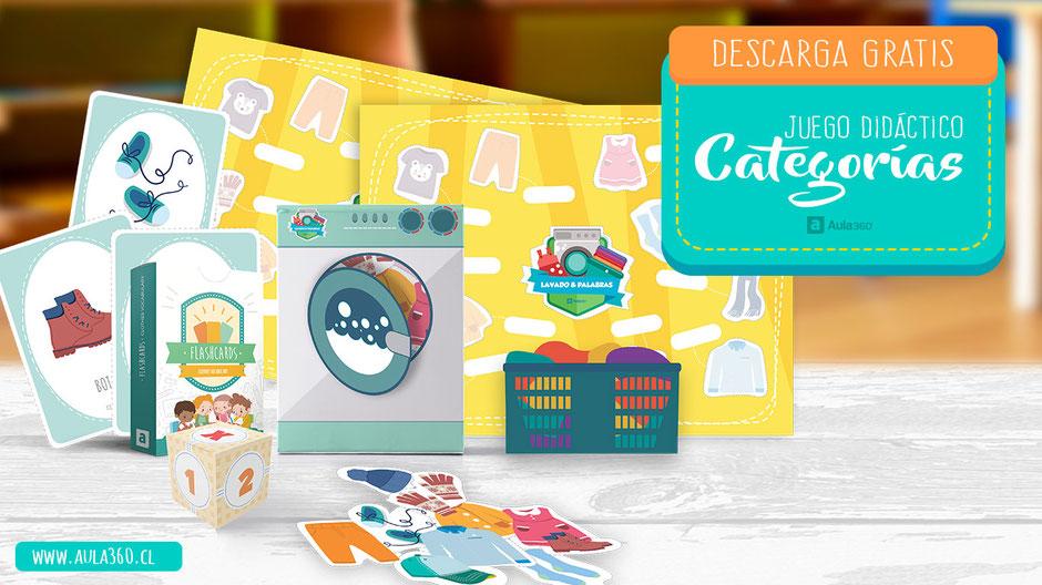 """portada juego """"lavado & palabras"""" gratis para imprimir en pdf educativo aula360"""