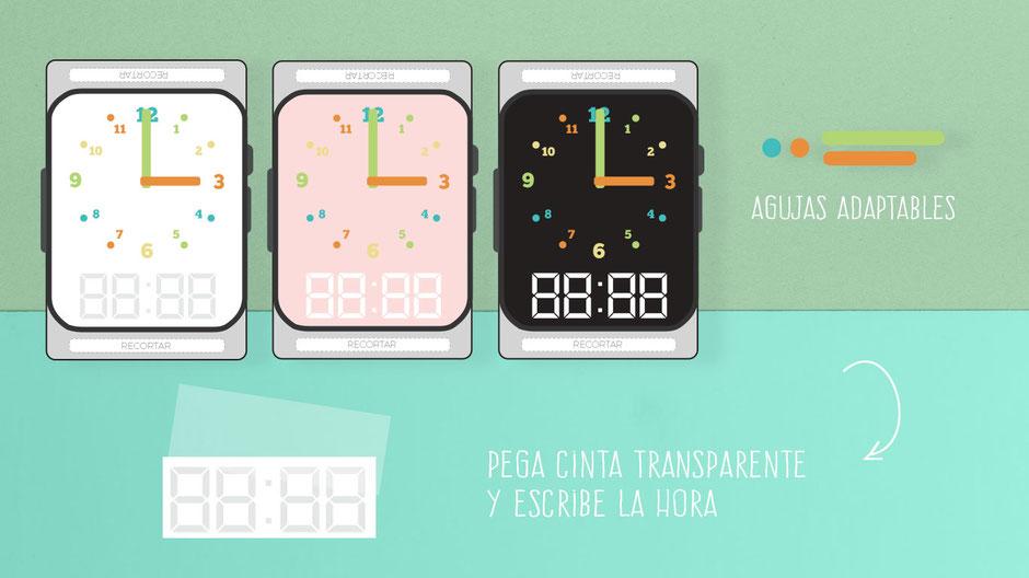 Relojes de pulsera descargables para imprimir gratis enseñar la hora