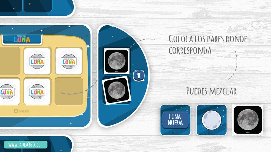 Juego didáctico gratis para enseñar a niños las fases de la luna gratis para imprimir