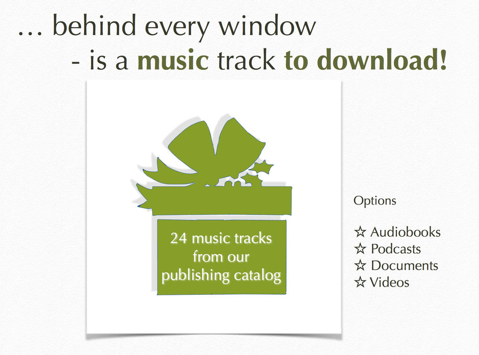 "Screenshot - Green Christmas Book by andante media - ""Online Musical Advent Calendar"" - Contents to choose!"