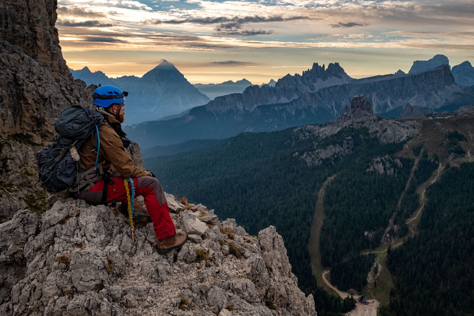 Taking a break on the climb along the via ferrata Degli Alpini Al Col Dei Bos