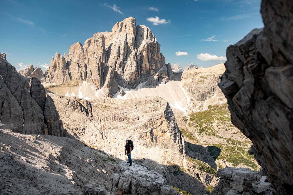 The fantastic views of Croda Dei Toni on via ferrata Strada Degli Alpini in the Sextener Dolomites