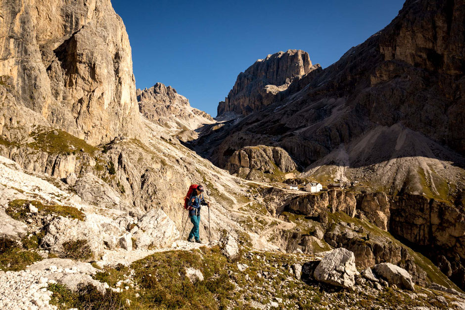 Approaching rifugio Vajolet. How to reach vajolet towers in the Dolomites