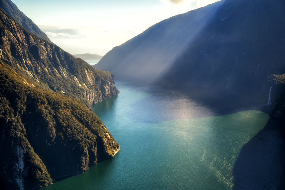 Birds Eye view of the Milford Sound in New Zealand