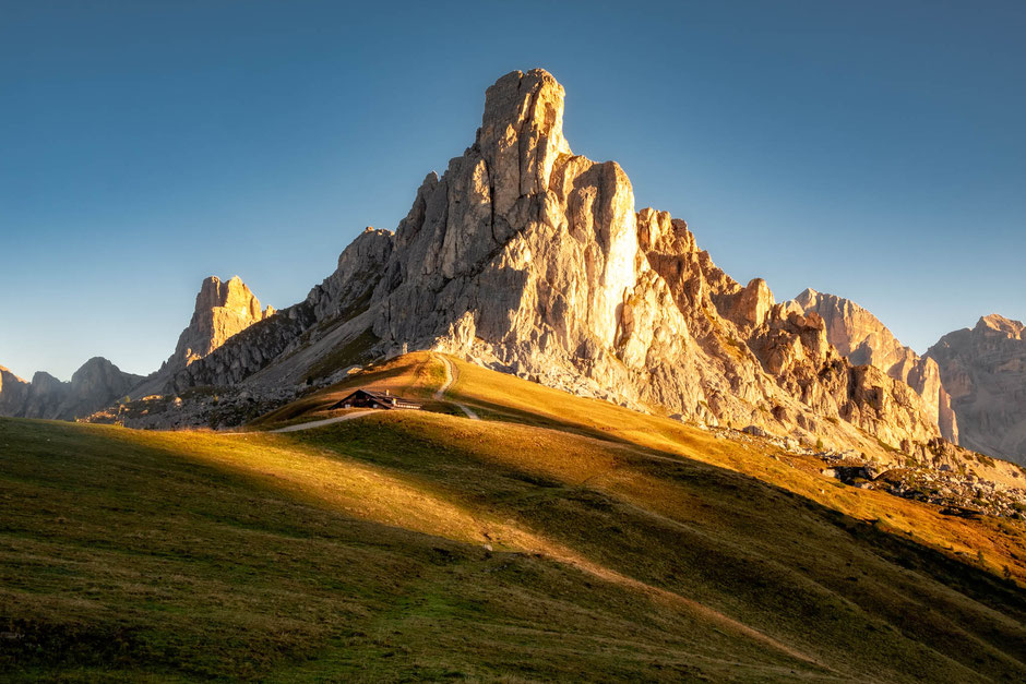 Passo Giau in the Italian Dolomites at sunrise