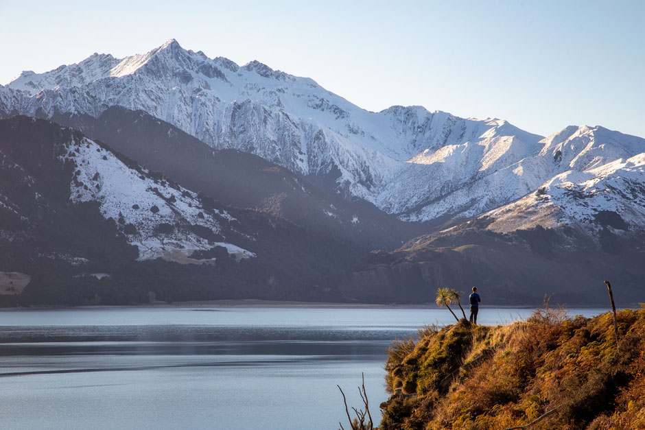 Majestic mountains around lake Hawea, New Zealand