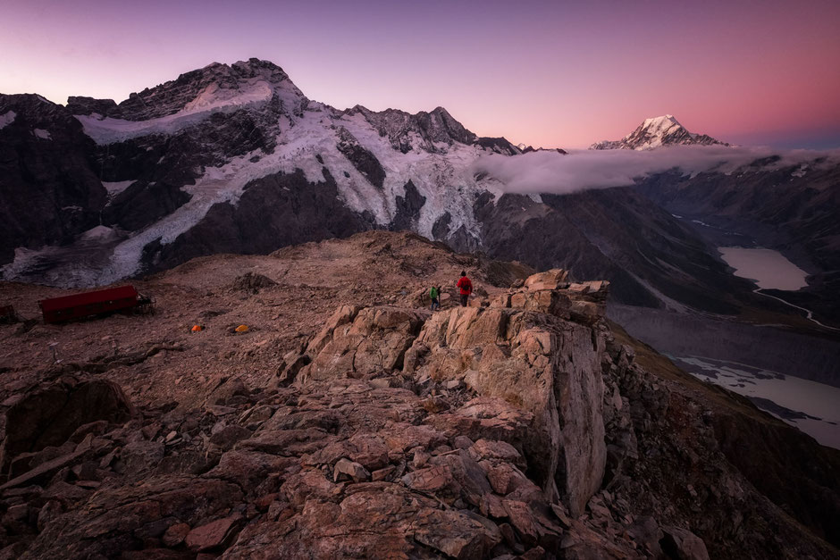Descending from Mount Olivier during dusk. Mount Cook and Mueller hut can be seen in the background.