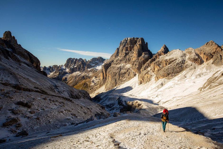 Hiker in the Rosengarten Nature Park in the Italian Dolomites
