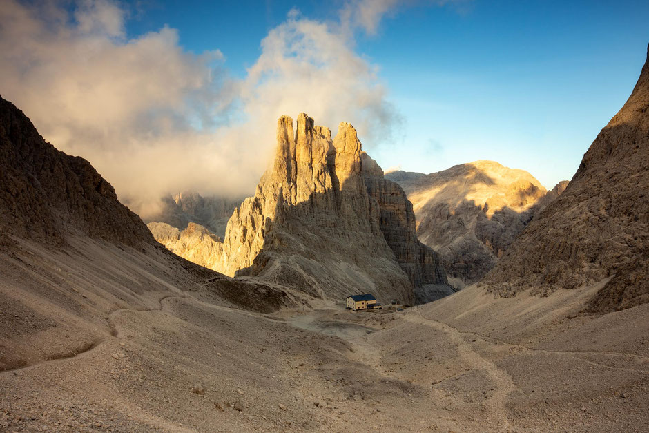 The Gartlvalley, Vajolet Towers and rifugio Re Alberto Primero from Passo Santner in the Italian Dolomites