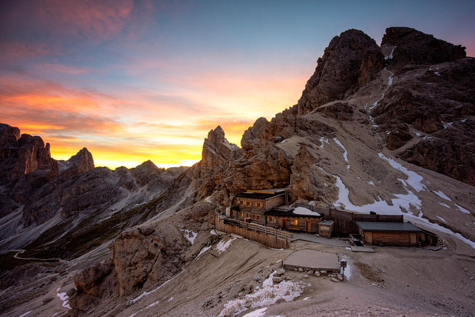 Rifugio Passo Principe in the Rosengarten Nature Park in the Italian Dolomites at sunset