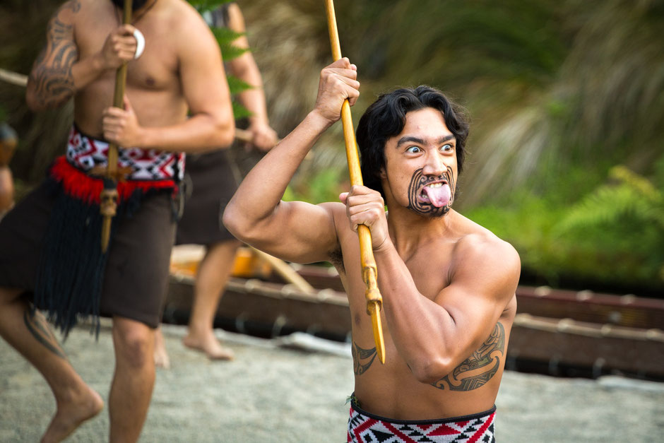 Traditional Haka Dance performed by a Maori Warrior