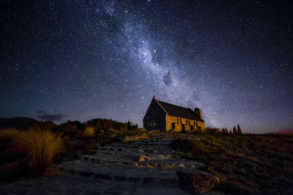 The Famous church of the good shepherd photographed in the night with Milky way in the background