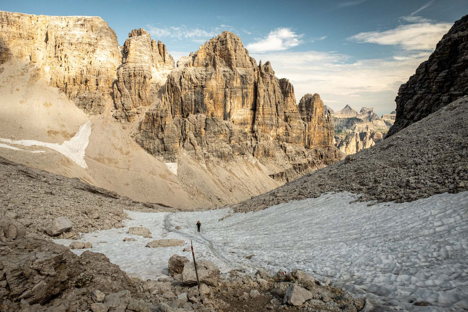 Passing a snowfield on the 4th day of Alta Via 2