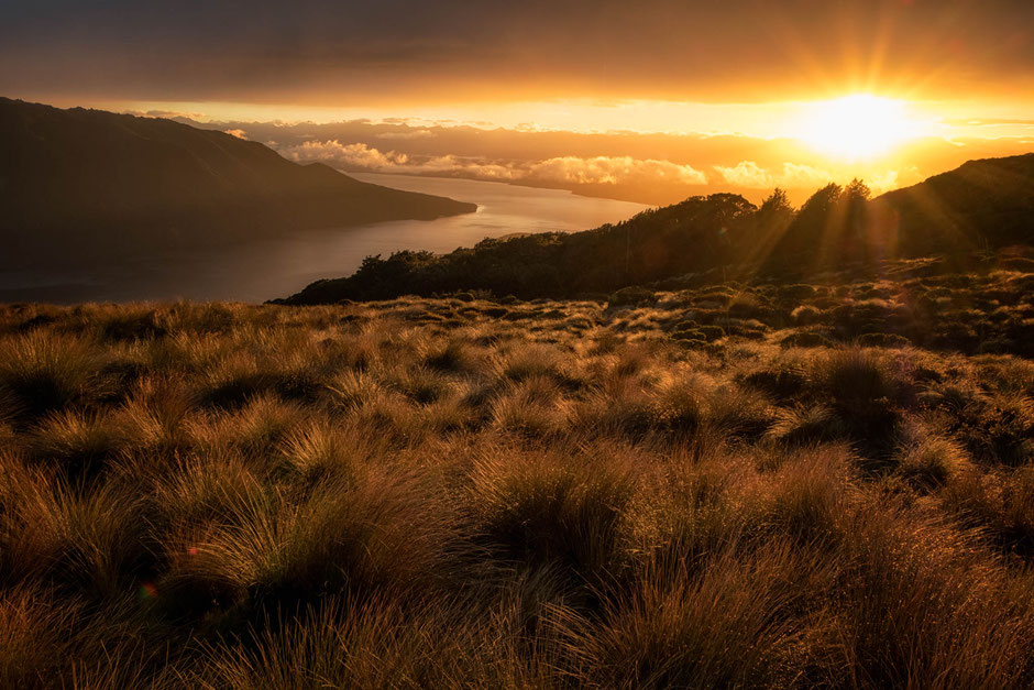 Sunrise over Lake Te Anau whilst on the Kepler Track in Fiordland National Park