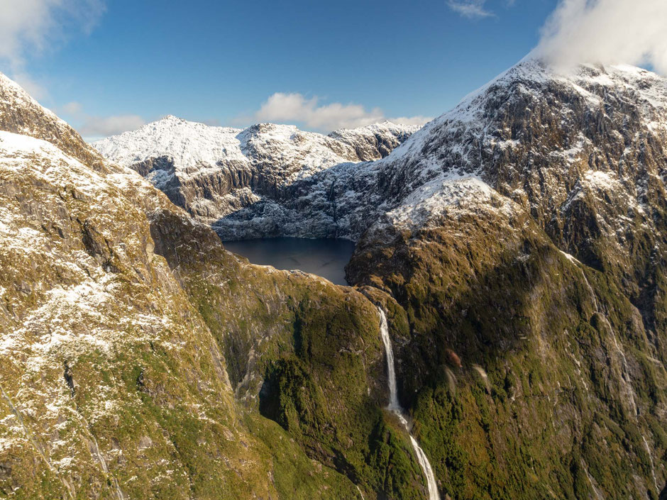 Sutherland Falls from a scenic flight above Fiordland National Park and the Milford Track