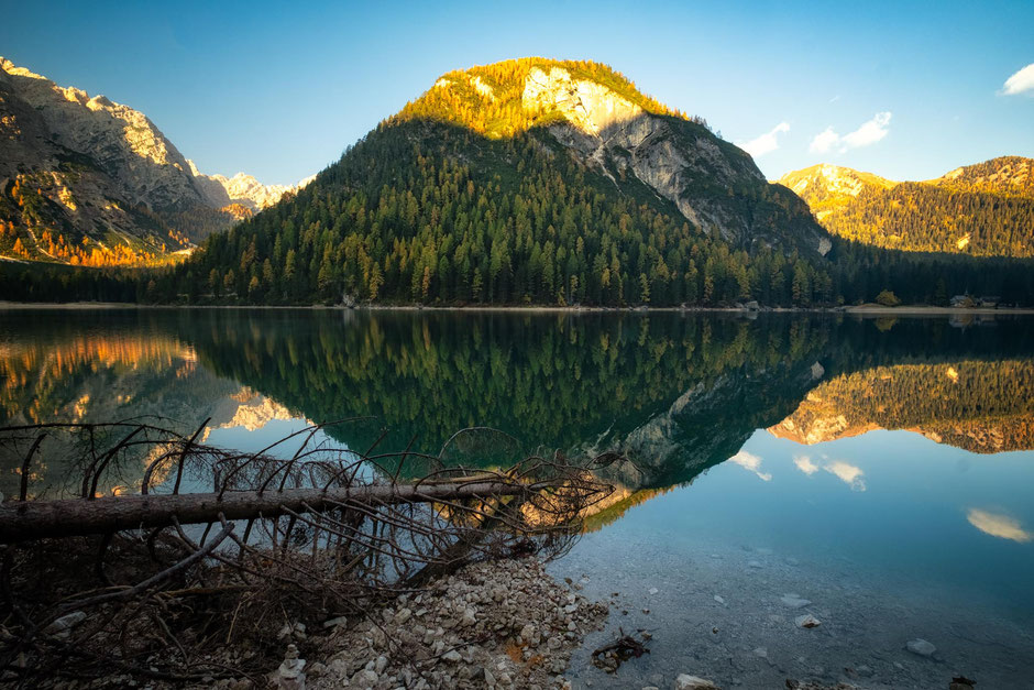 Reflections in lago di Braies in the Italian Dolomites