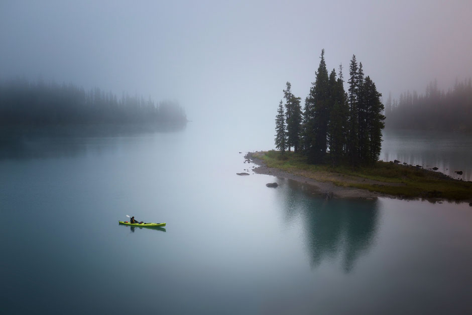 Spirit Island covered in a thick fog. Multi day guide to canoeing on the Maligne lake