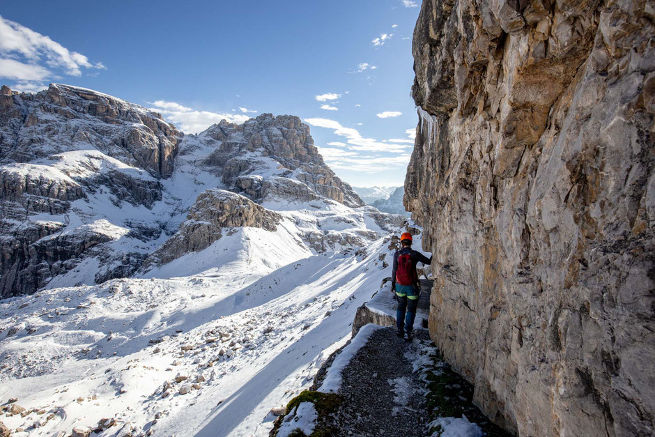 Information about via ferrata delle Scalette to the top of Torre di Toblin in the Italian Dolomites