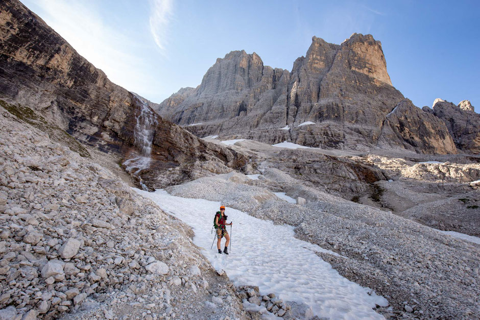 Snow remaining on eastern slopes of Cima Undici in mid July. Via ferrata Strada Degli Alpini