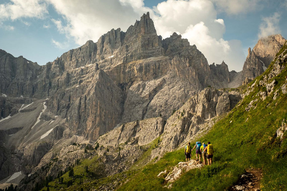 Hiking towards Piz Duleda. You can summit it as possible extension to Alta Via 2